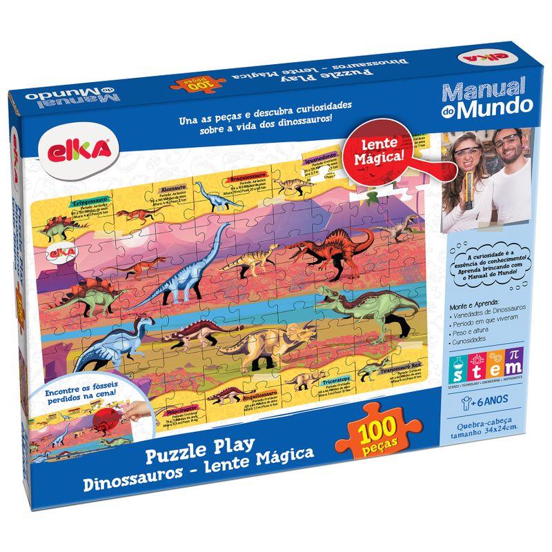 Puzzle-Play-Dinossauros-100-pecas-Lente-Magica---Manual-do-Mundo